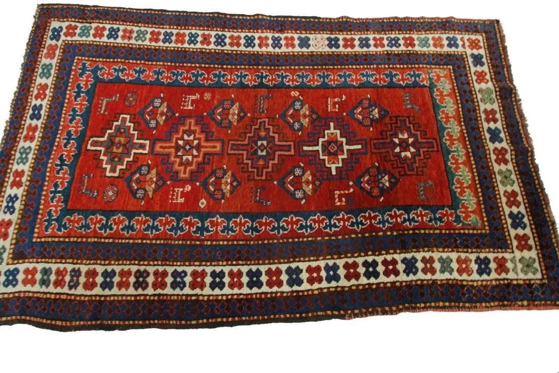 Antique Kazak Caucasian Rug 4x7 - 3