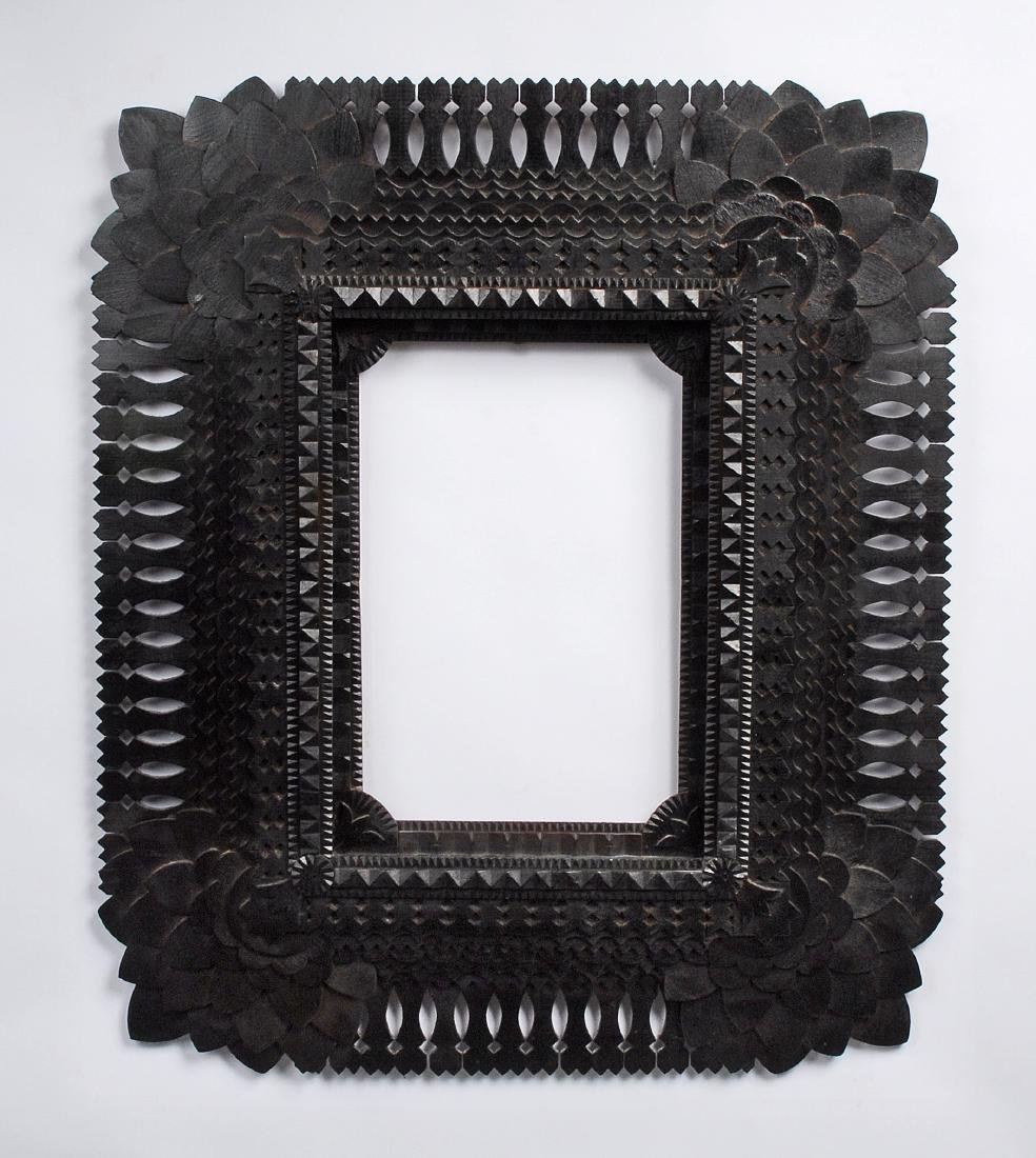 Sunflower Cornered Tramp Art Frame by John Zubersky