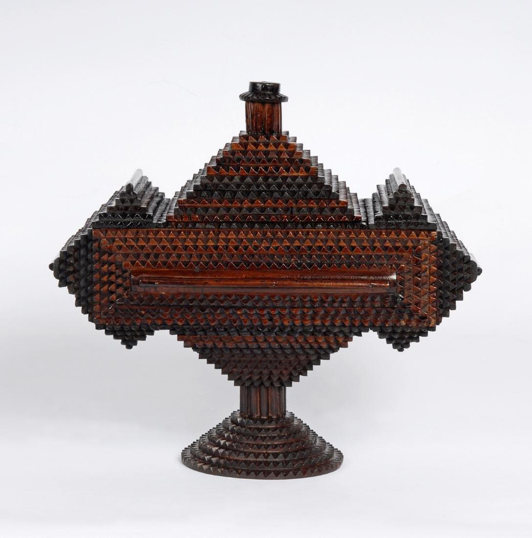 Tramp Art 'Hat' Finial Pedestal Box