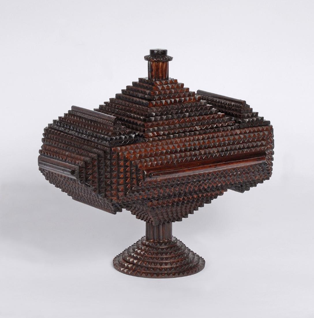 Tramp Art 'Hat' Finial Pedestal Box - 2