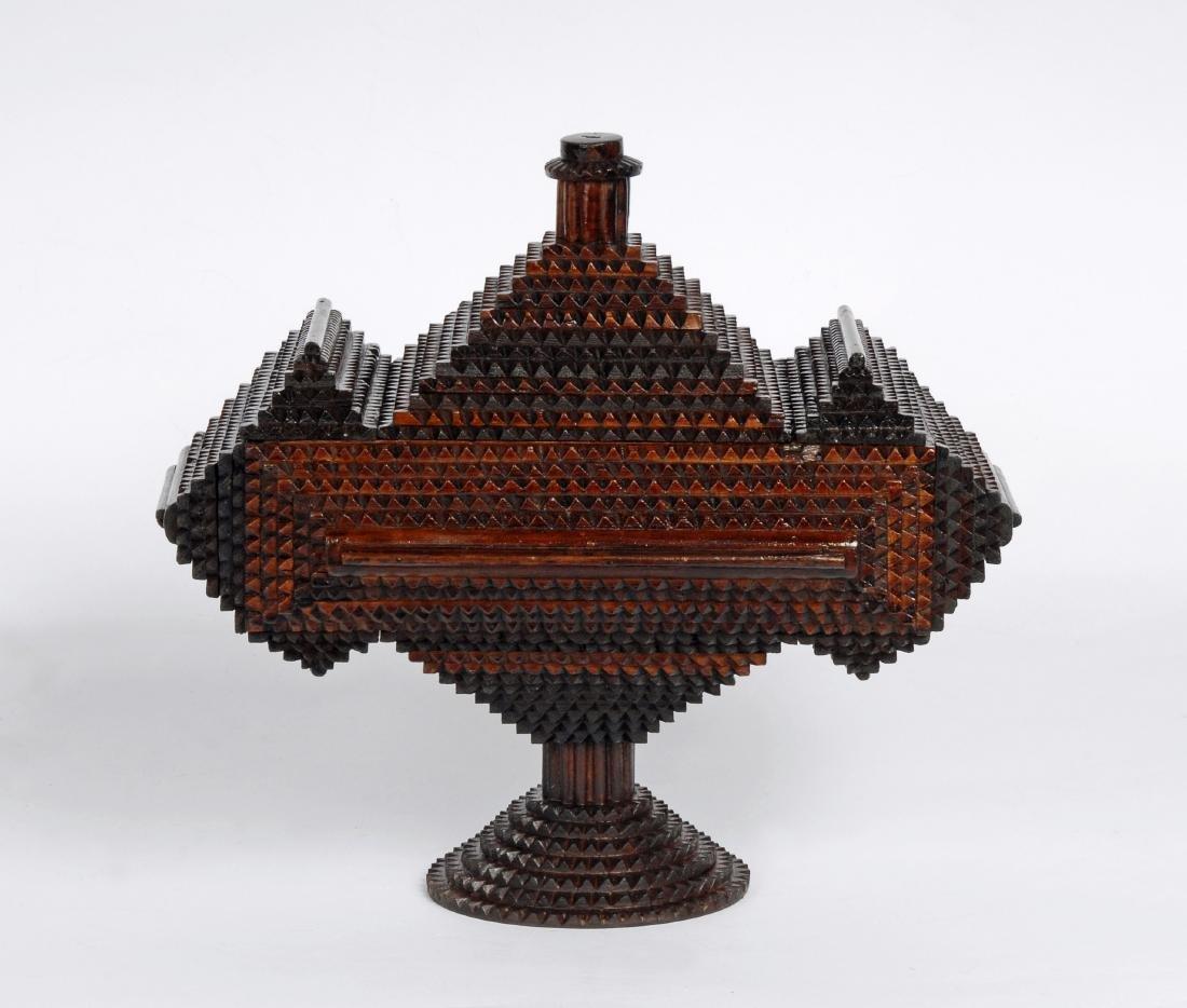 Tramp Art 'Hat' Finial Pedestal Box - 4