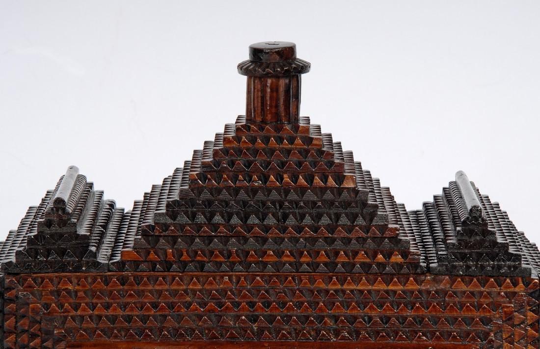 Tramp Art 'Hat' Finial Pedestal Box - 6