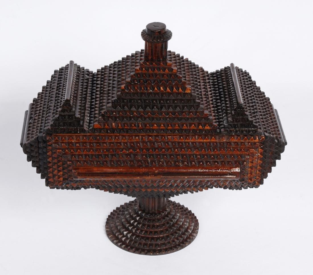 Tramp Art 'Hat' Finial Pedestal Box - 7