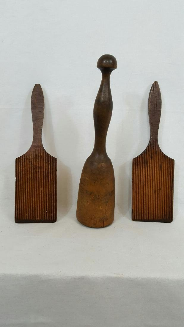 2 Wooden Butter Workers & Masher