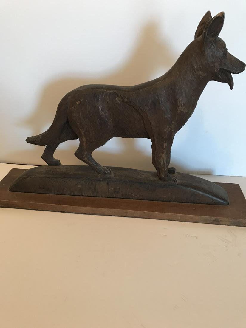 Wood German Shepherd Dog Carving