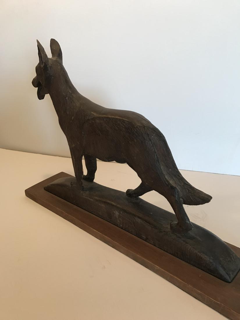 Wood German Shepherd Dog Carving - 3