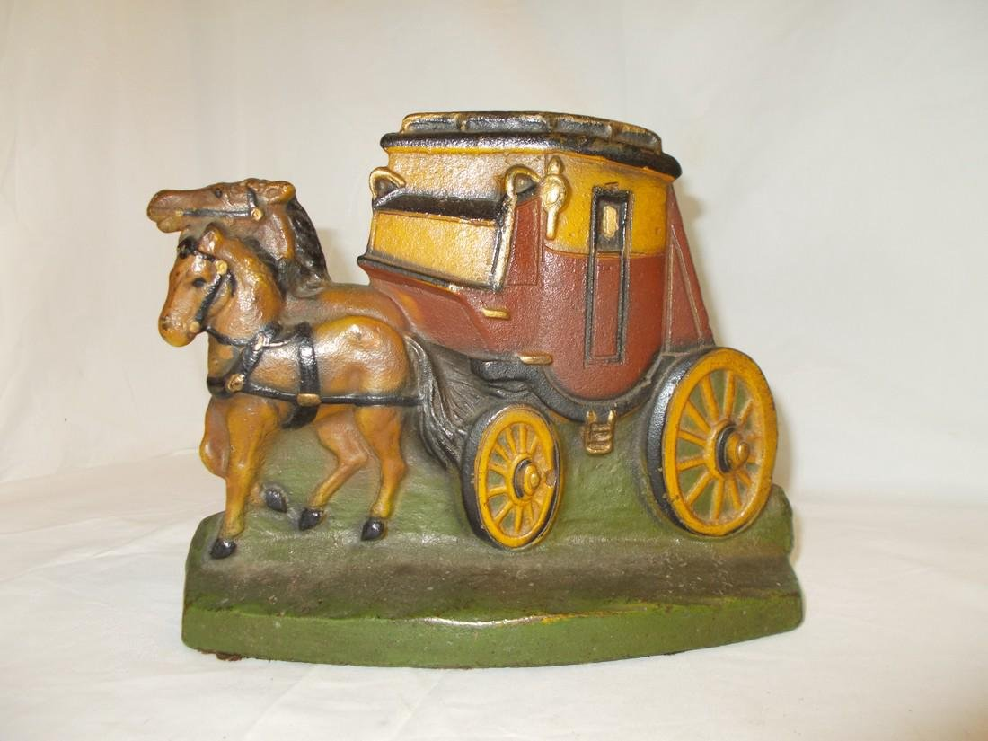 Stagecoach and Horses Cast IronDoor Stop