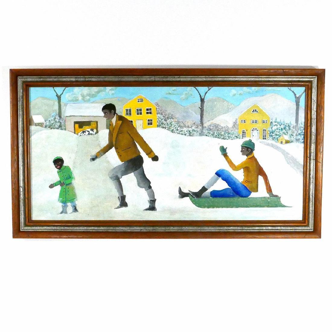 Oil Painting Family Sledding