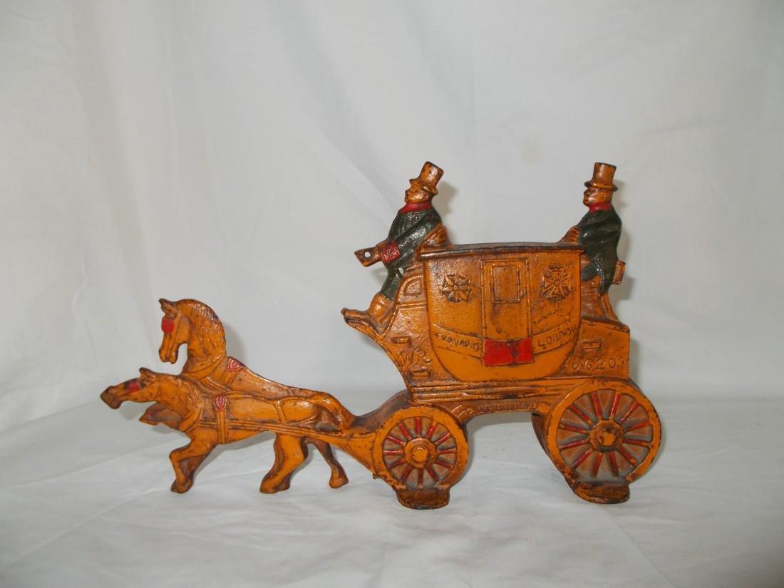 Painted Cast Iron Door Stop Carriage - 2