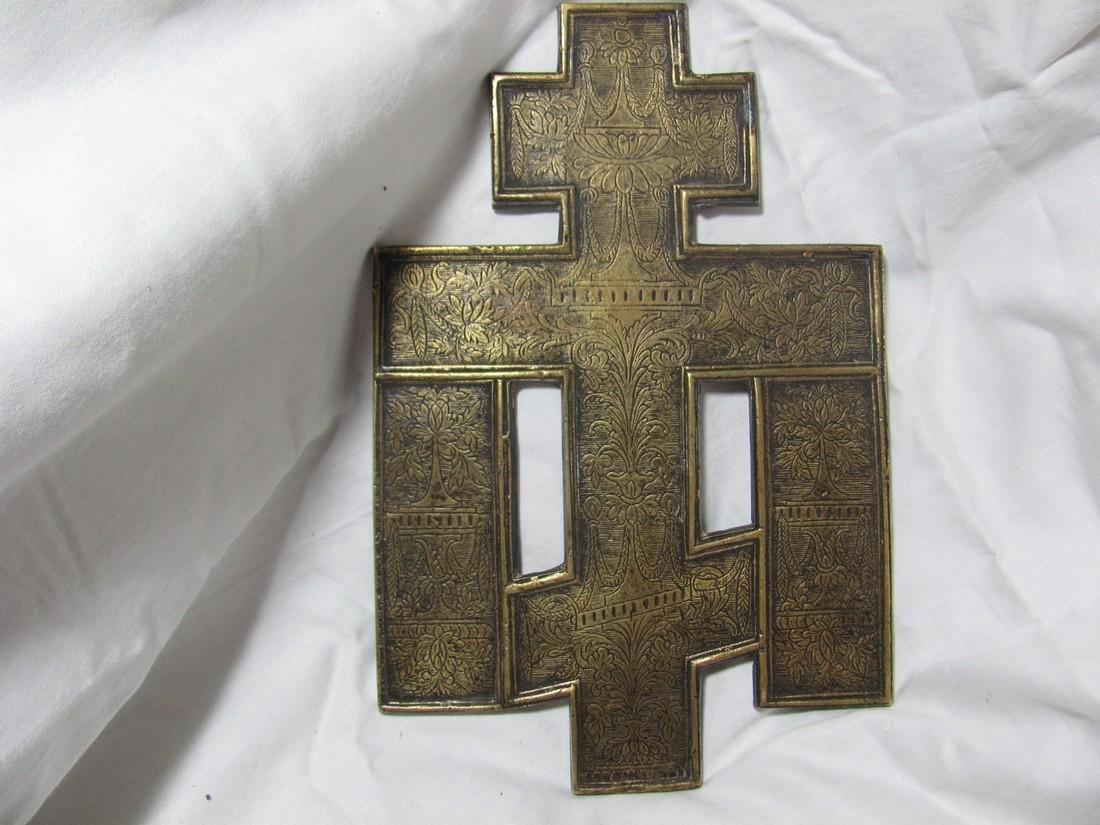 Bronze Enamel Russian Cross Icon, 19th C - 2