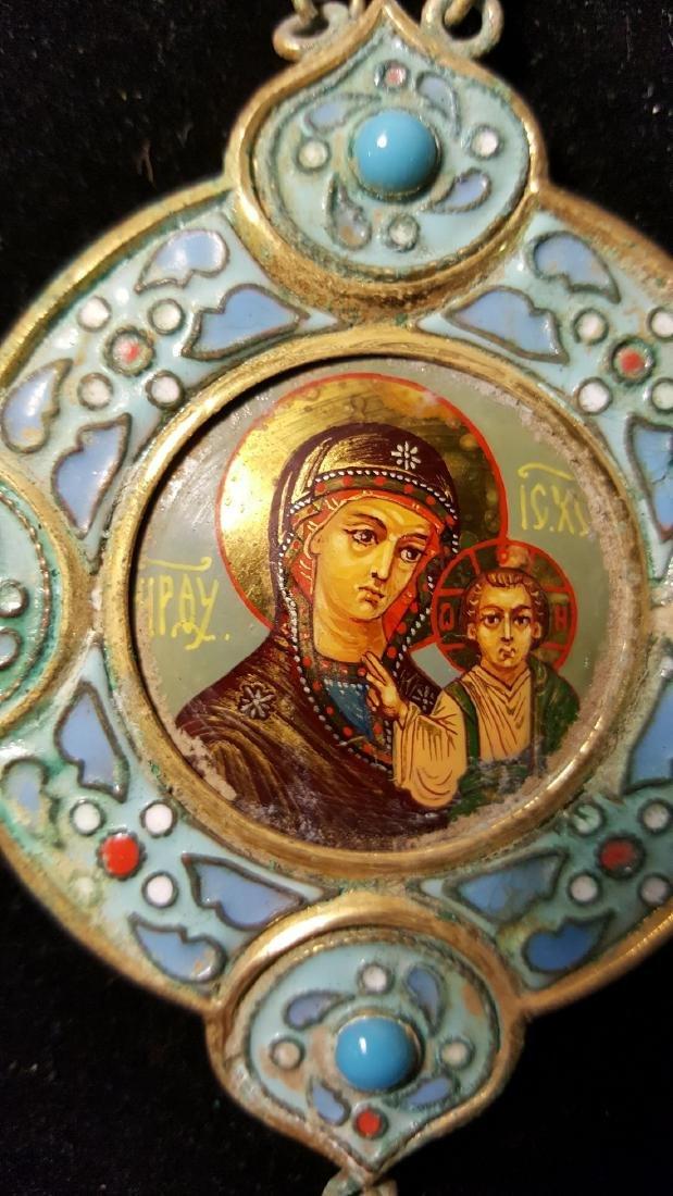 Russian Panagia Breastplate Gold Enamel Pendant - 2