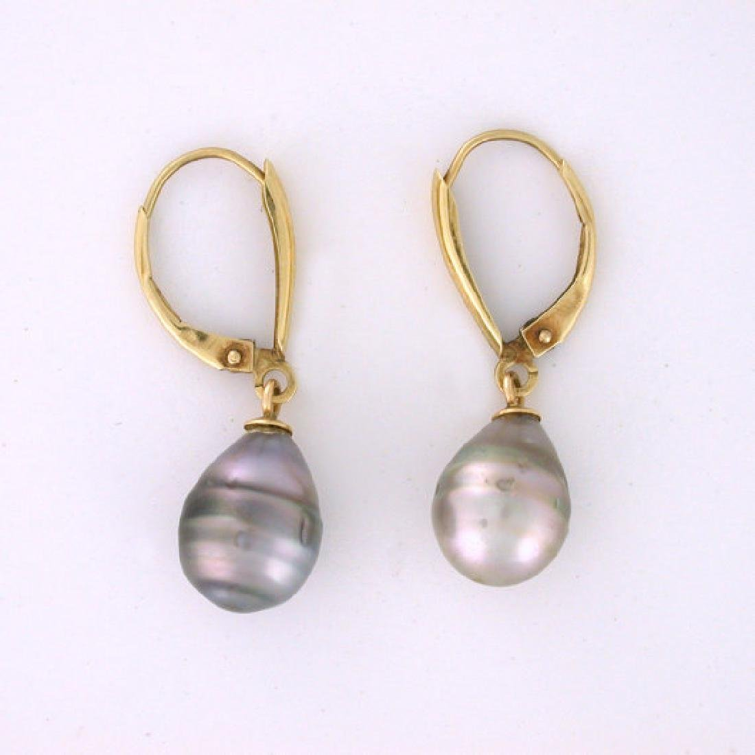 Vintage 14K Gold South Sea Black Pearls Drop Earrings