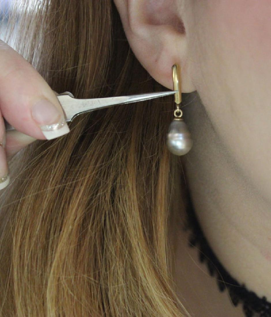 Vintage 14K Gold South Sea Black Pearls Drop Earrings - 3