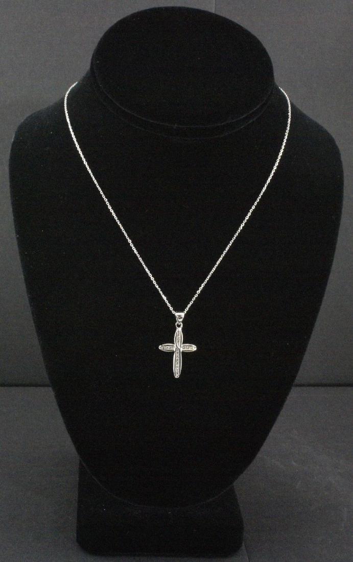 14k White Gold Diamond Cross Pendant, 0.25 ctw - 3