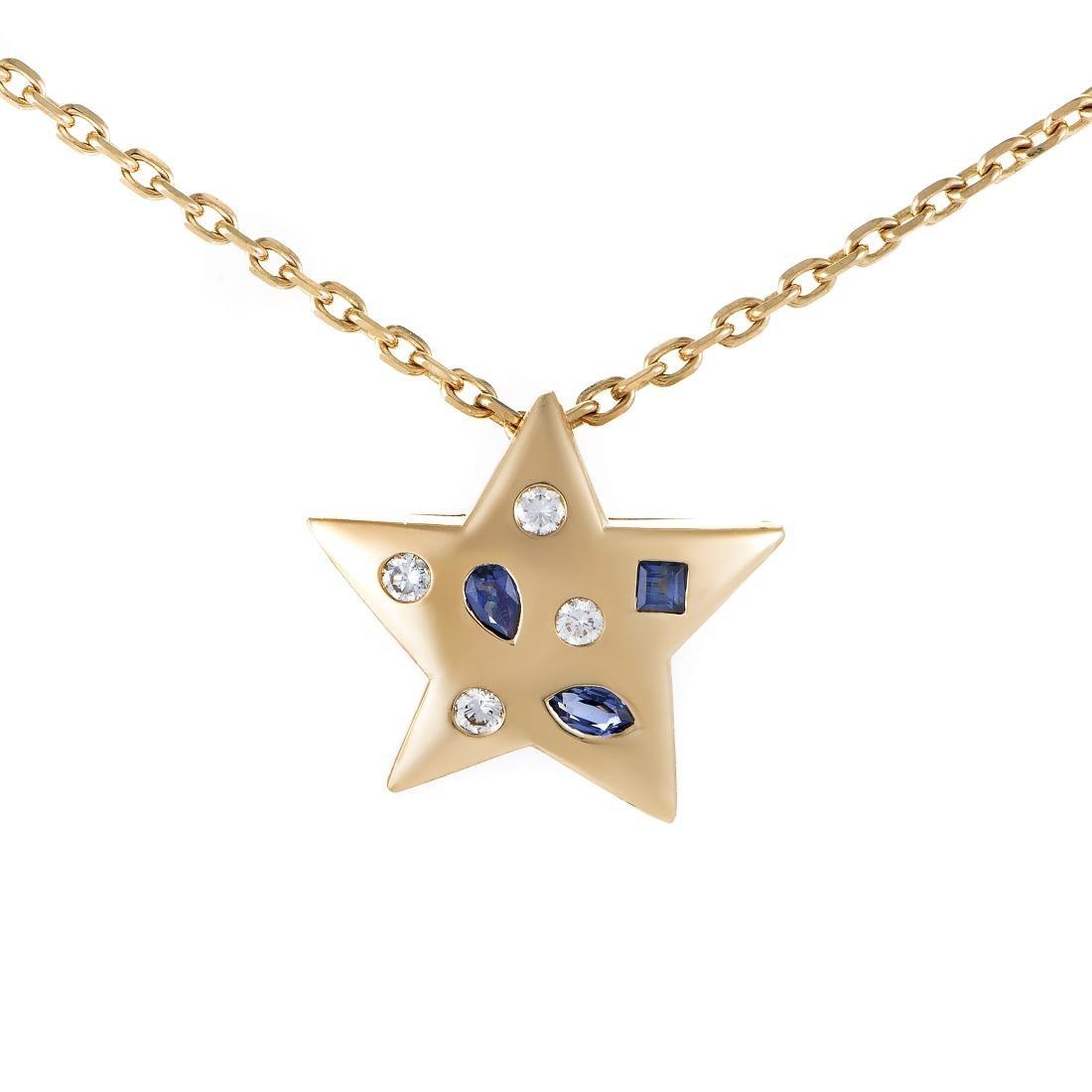 Chanel Comete 18K Gold Diamond Sapphire Star Necklace