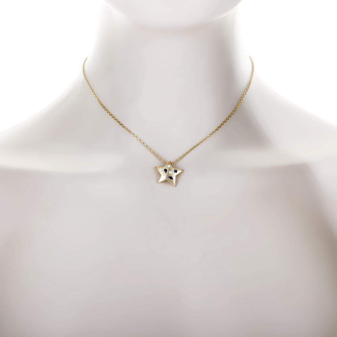 Chanel Comete 18K Gold Diamond Sapphire Star Necklace - 2
