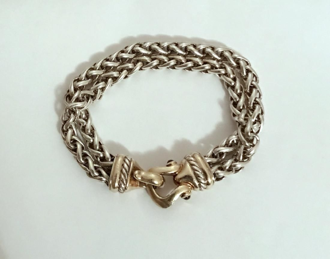 David Yurman 14K Gold Silver Tourmaline Chain Bracelet