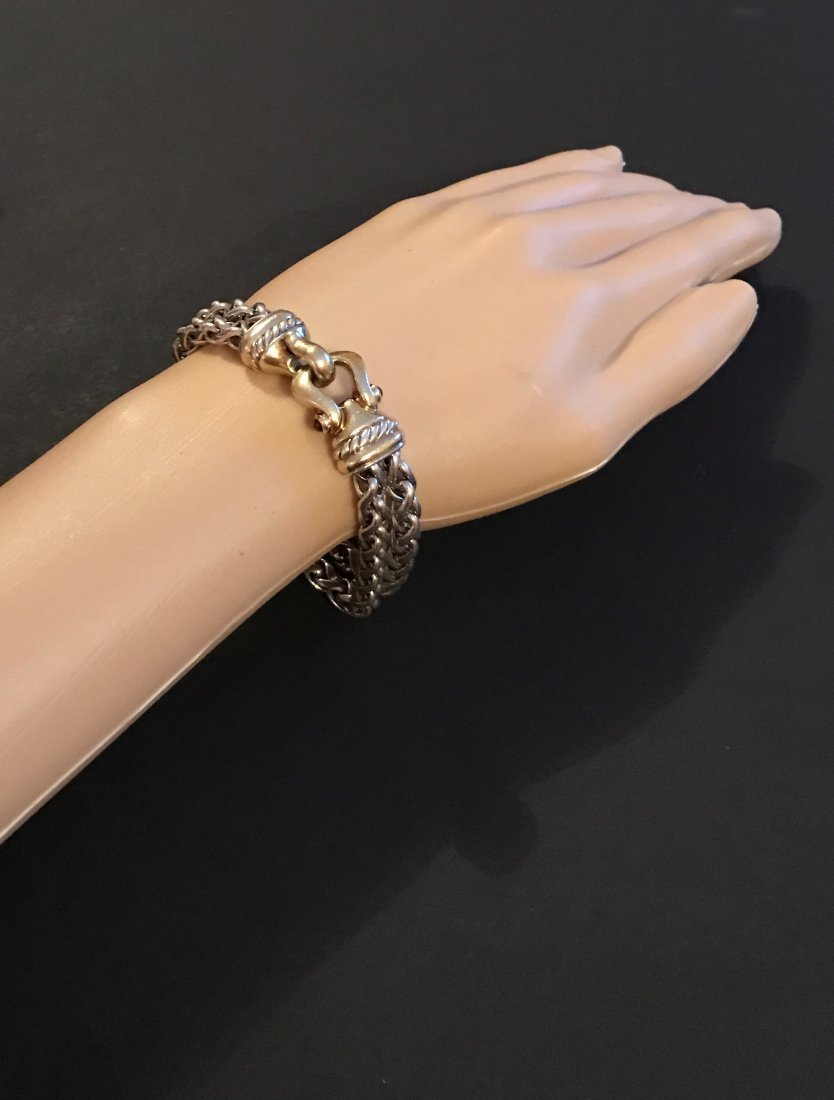 David Yurman 14K Gold Silver Tourmaline Chain Bracelet - 2