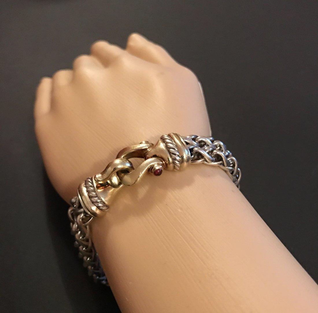 David Yurman 14K Gold Silver Tourmaline Chain Bracelet - 3