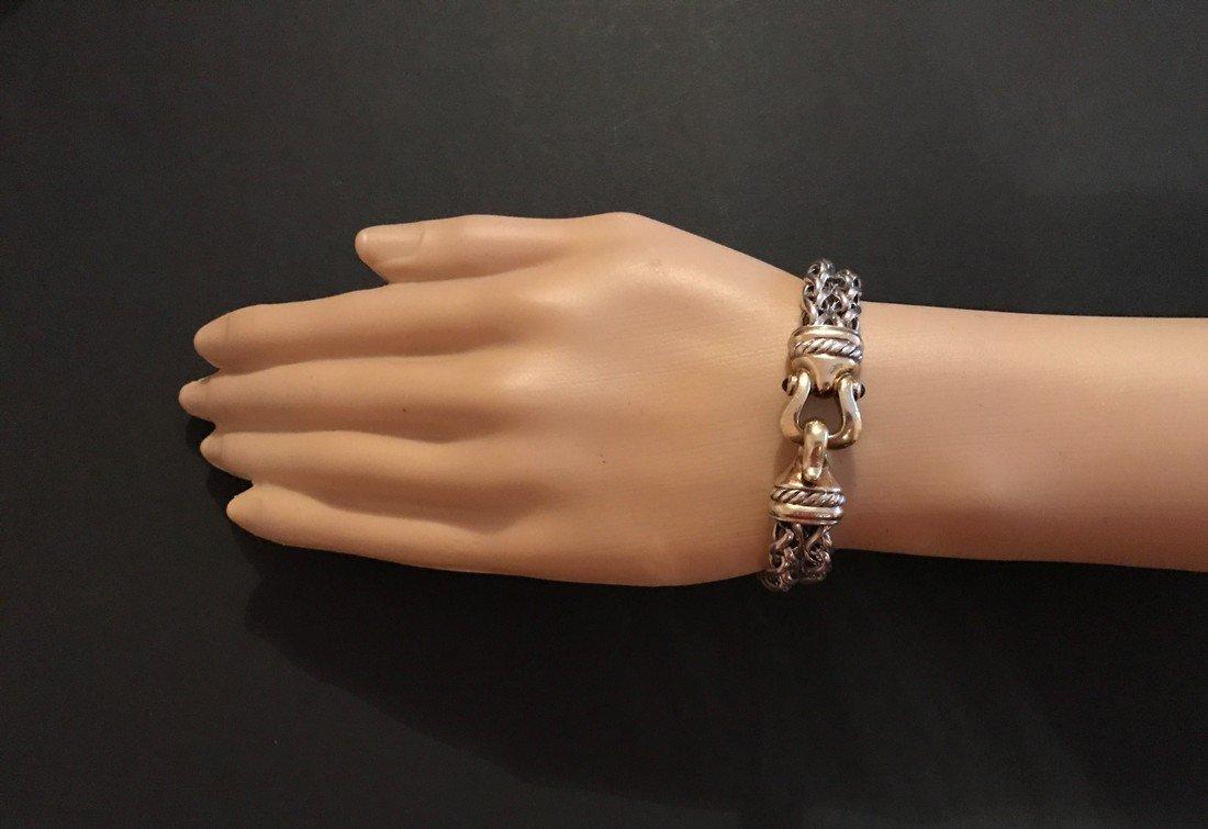 David Yurman 14K Gold Silver Tourmaline Chain Bracelet - 5