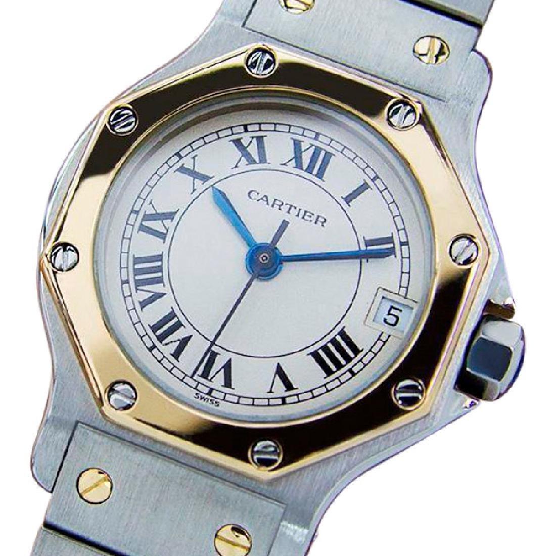 Cartier Santos Quartz 18K Gold Stainless Steel Watch