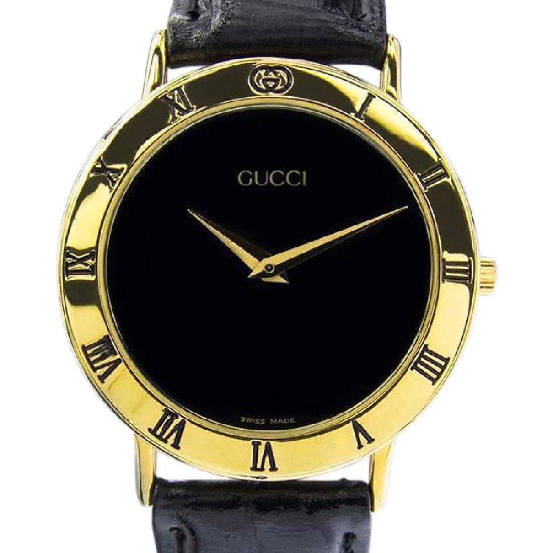 3273c559265 Vintage Swiss Gucci 3000.2m Gold Plate Quartz Watch
