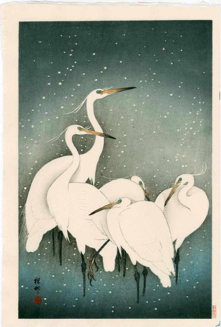 Ohara Koson: Five Herons in Snow