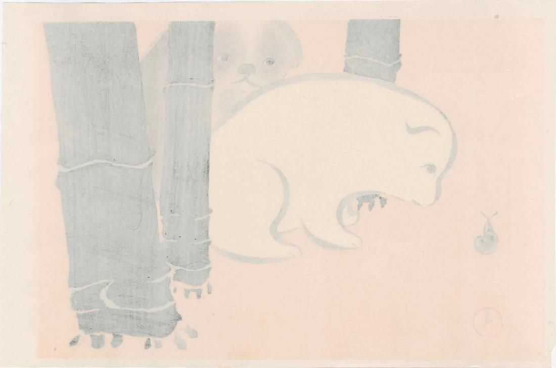 Sekka Kamisaka: Puppies and a Snail - 2