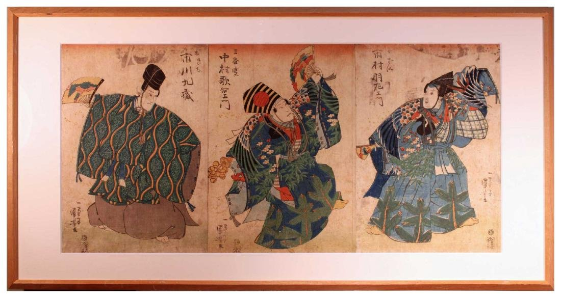 Utagawa Kunisada (Toyokuni III): Three Actors [Framed]