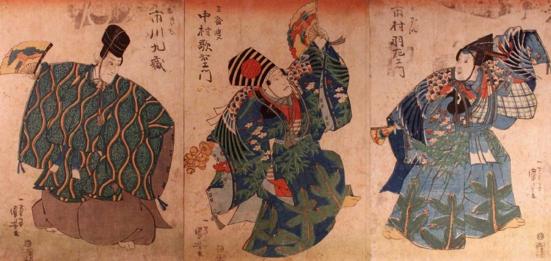 Utagawa Kunisada (Toyokuni III): Three Actors [Framed] - 3
