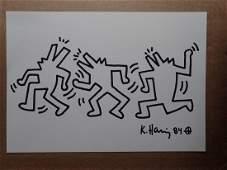 Keith Haring: Three barking dog-men dancing - Signed