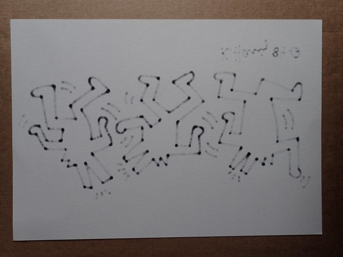 Keith Haring: Three barking dog-men dancing - Signed - 2