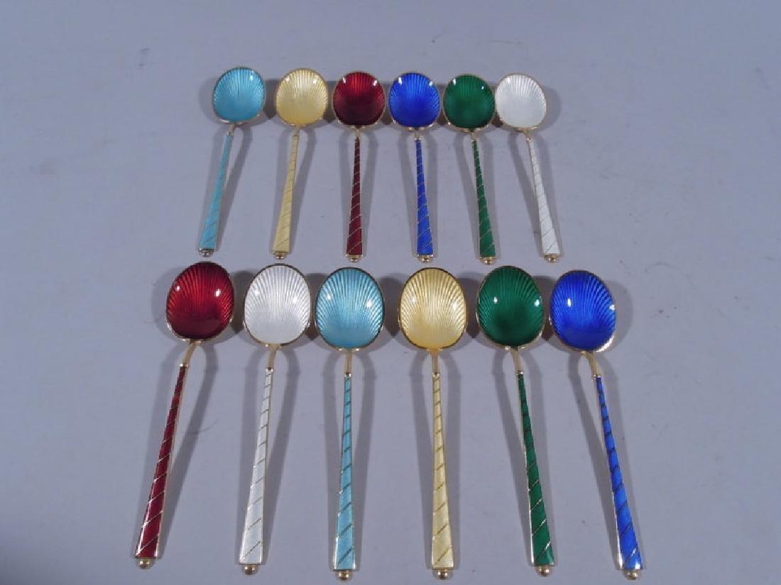 12 Danish Modern Sterling Silver & Enameled Spoons