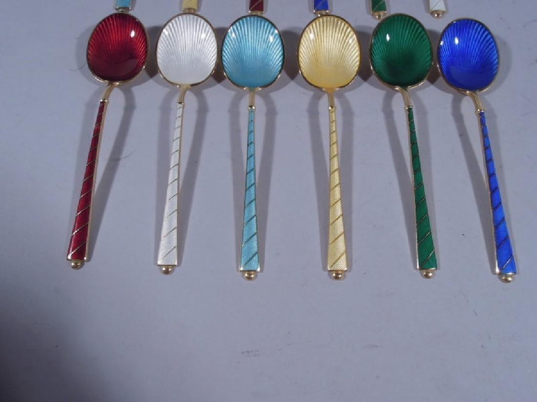 12 Danish Modern Sterling Silver & Enameled Spoons - 3