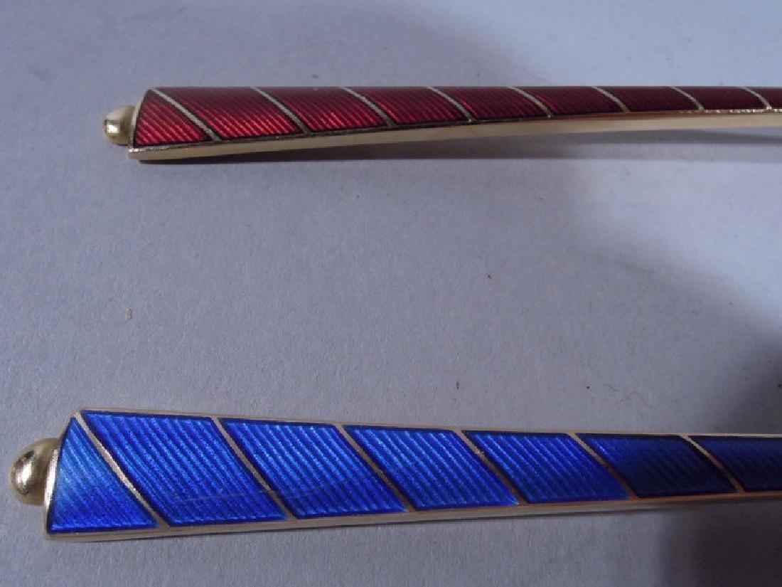 12 Danish Modern Sterling Silver & Enameled Spoons - 5