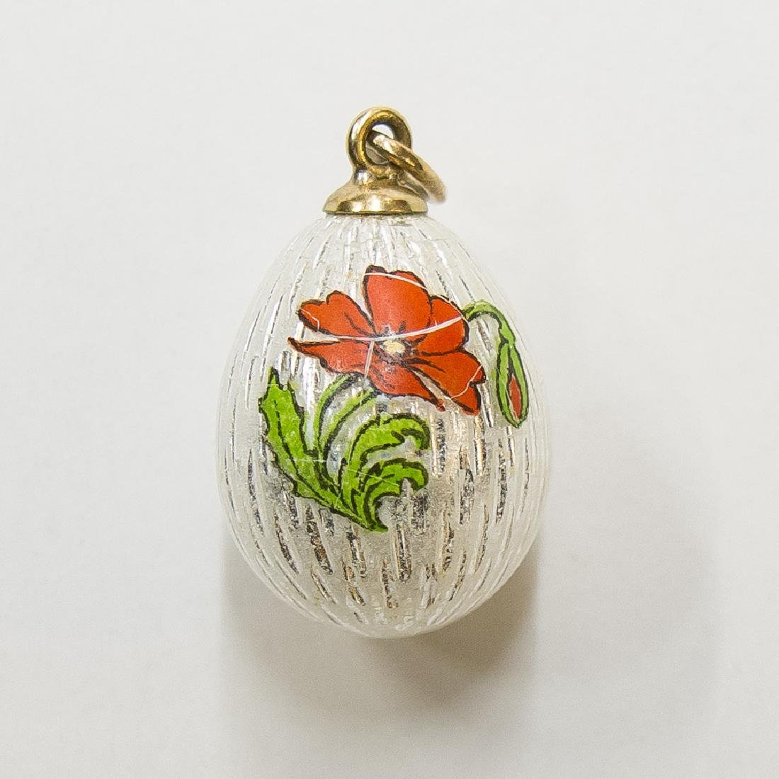 Russian Miniature 14K Gold & Enamel Egg Pendant