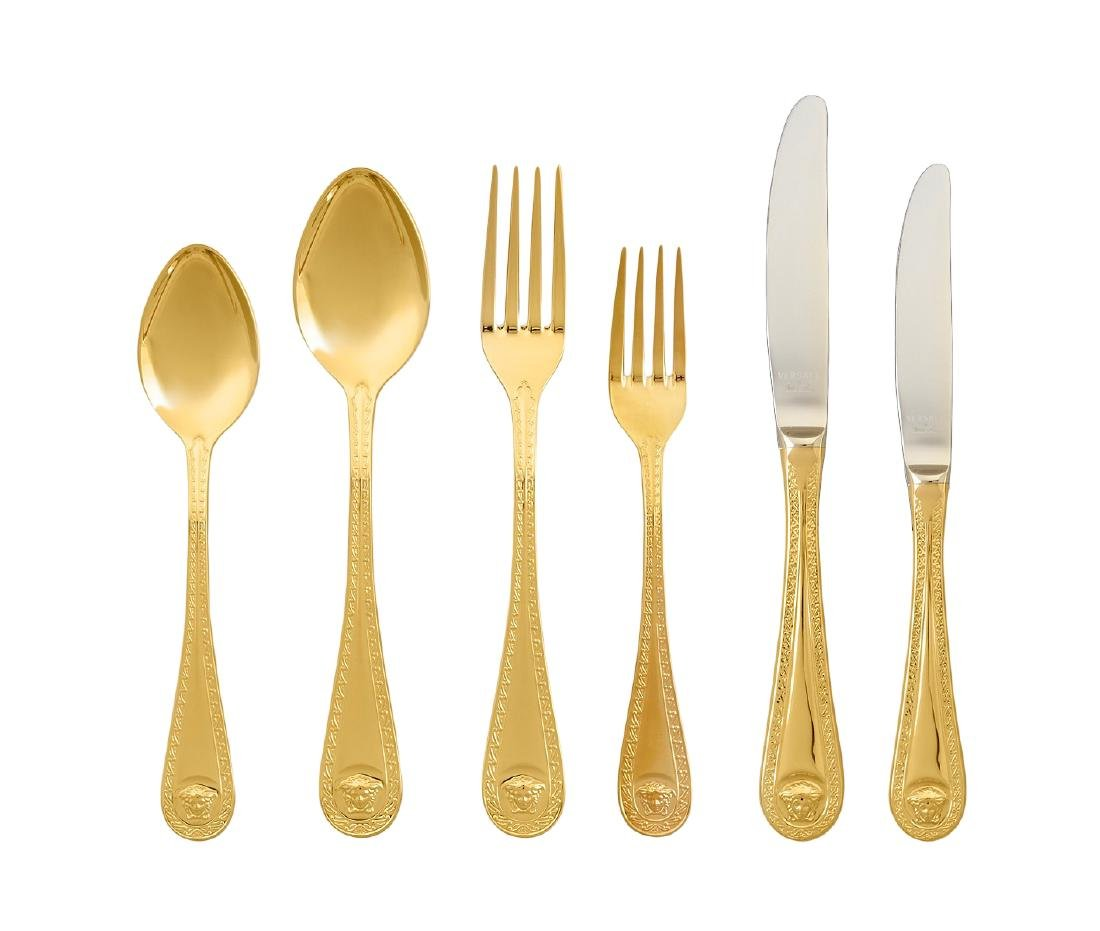 Set of 36 Rosenthal Meets Versace Medusa Gold Flatware