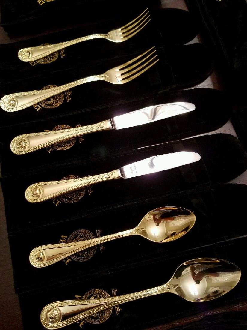 Set of 36 Rosenthal Meets Versace Medusa Gold Flatware - 4
