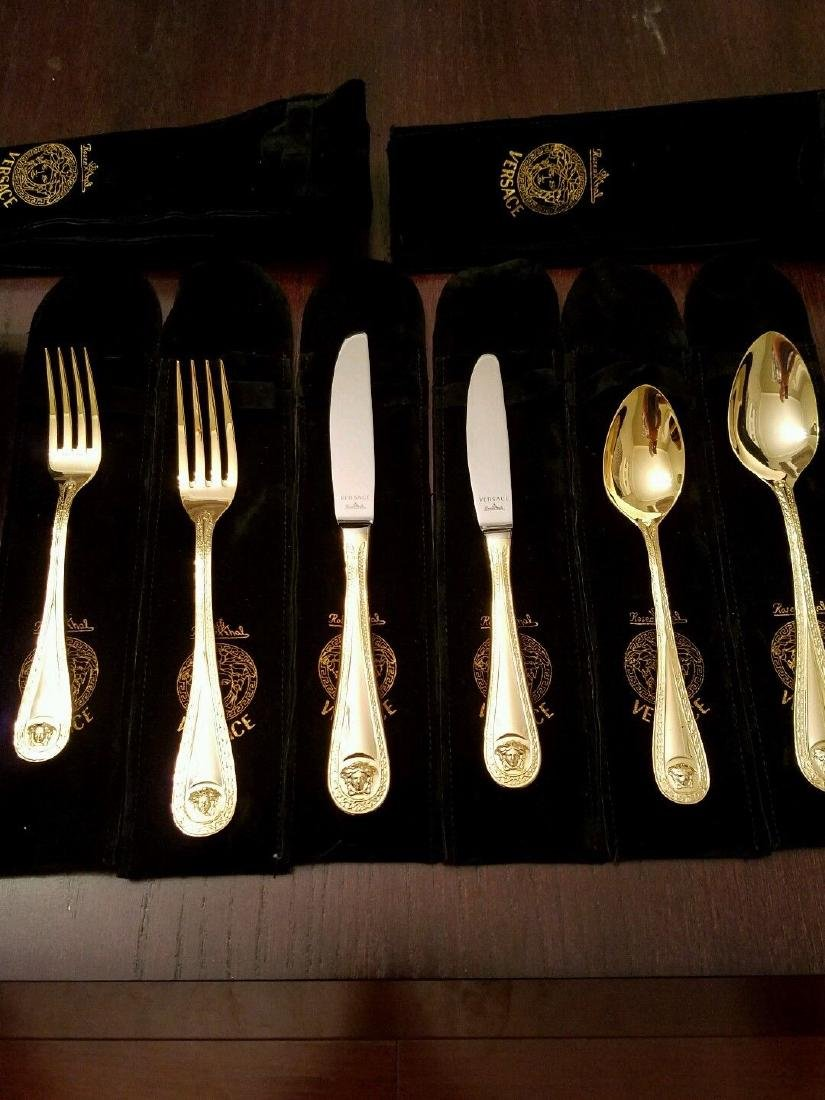 Set of 36 Rosenthal Meets Versace Medusa Gold Flatware - 7