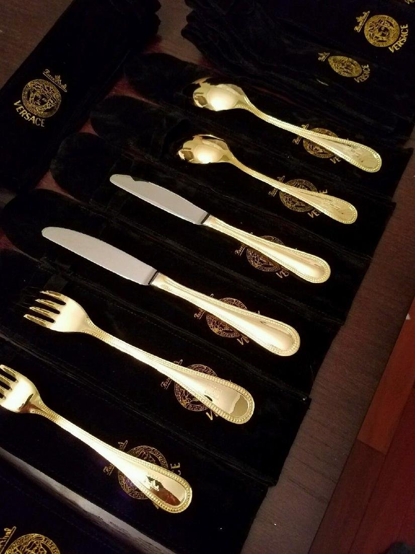 Set of 36 Rosenthal Meets Versace Medusa Gold Flatware - 8