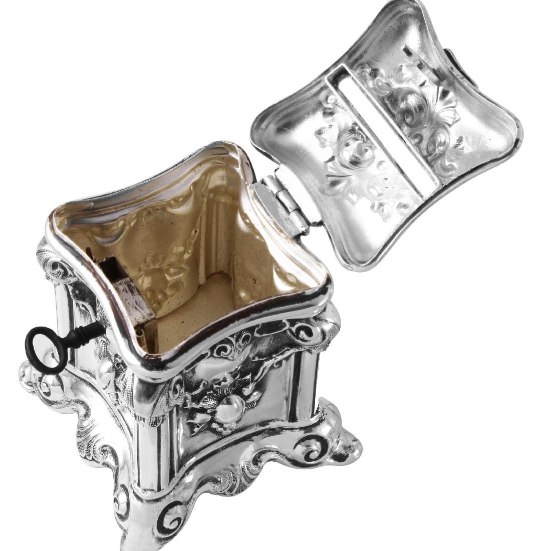 Antique Tzedakah Box Judaica, Sterling Hollowware - 2