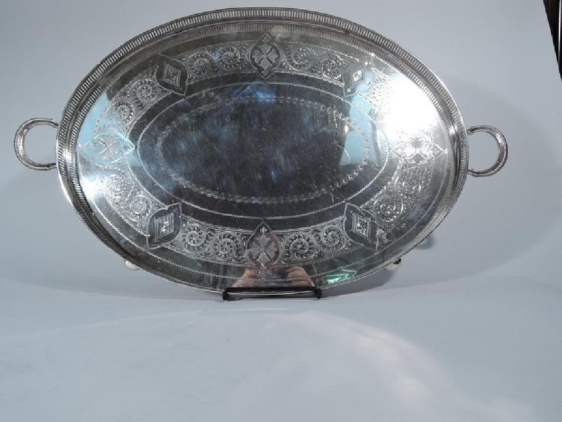 Antique English Aesthetic Sterling Silver Tea Tray