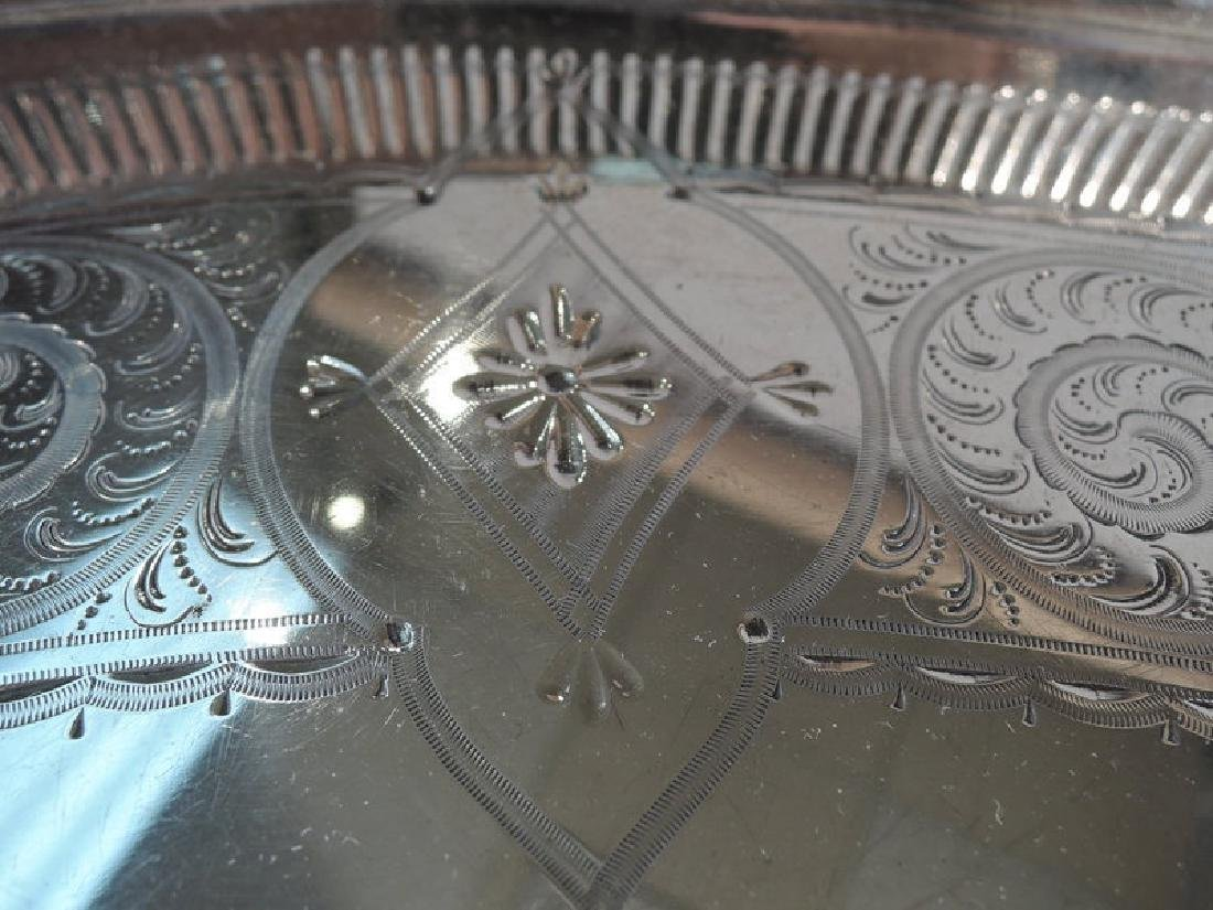 Antique English Aesthetic Sterling Silver Tea Tray - 5