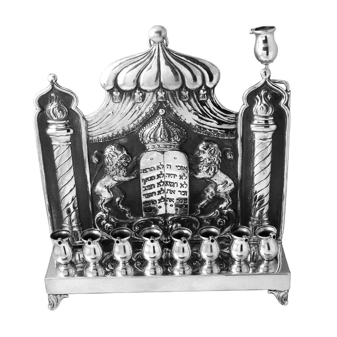 Karl Junker Antique Sterling Hanukkah Menorah