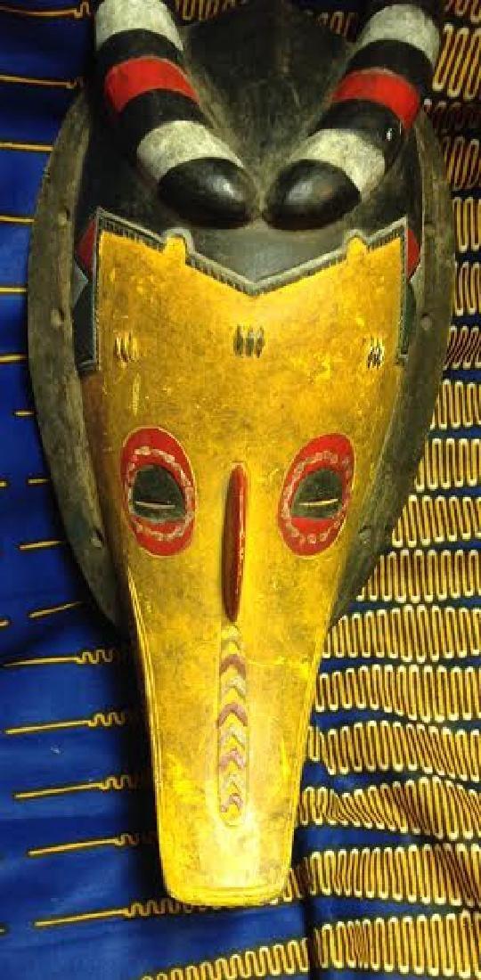 African Tribal Ceremonial Horn Head Crocodile Mask