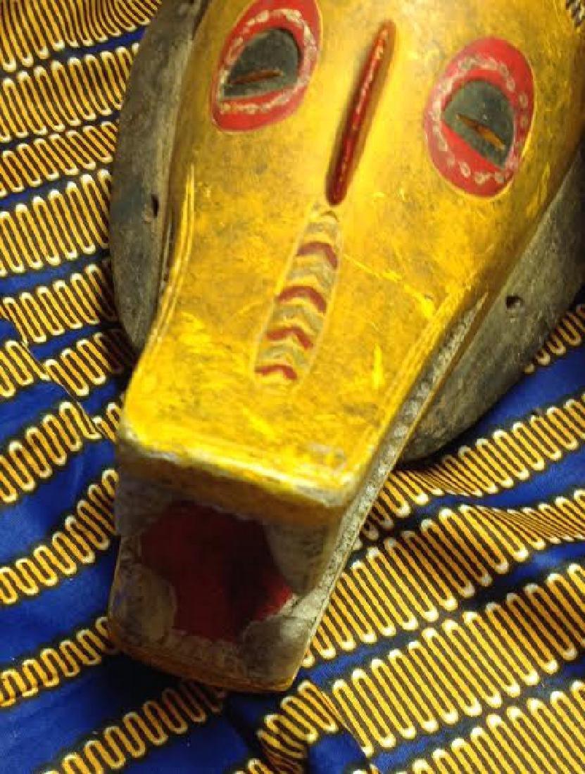 African Tribal Ceremonial Horn Head Crocodile Mask - 3