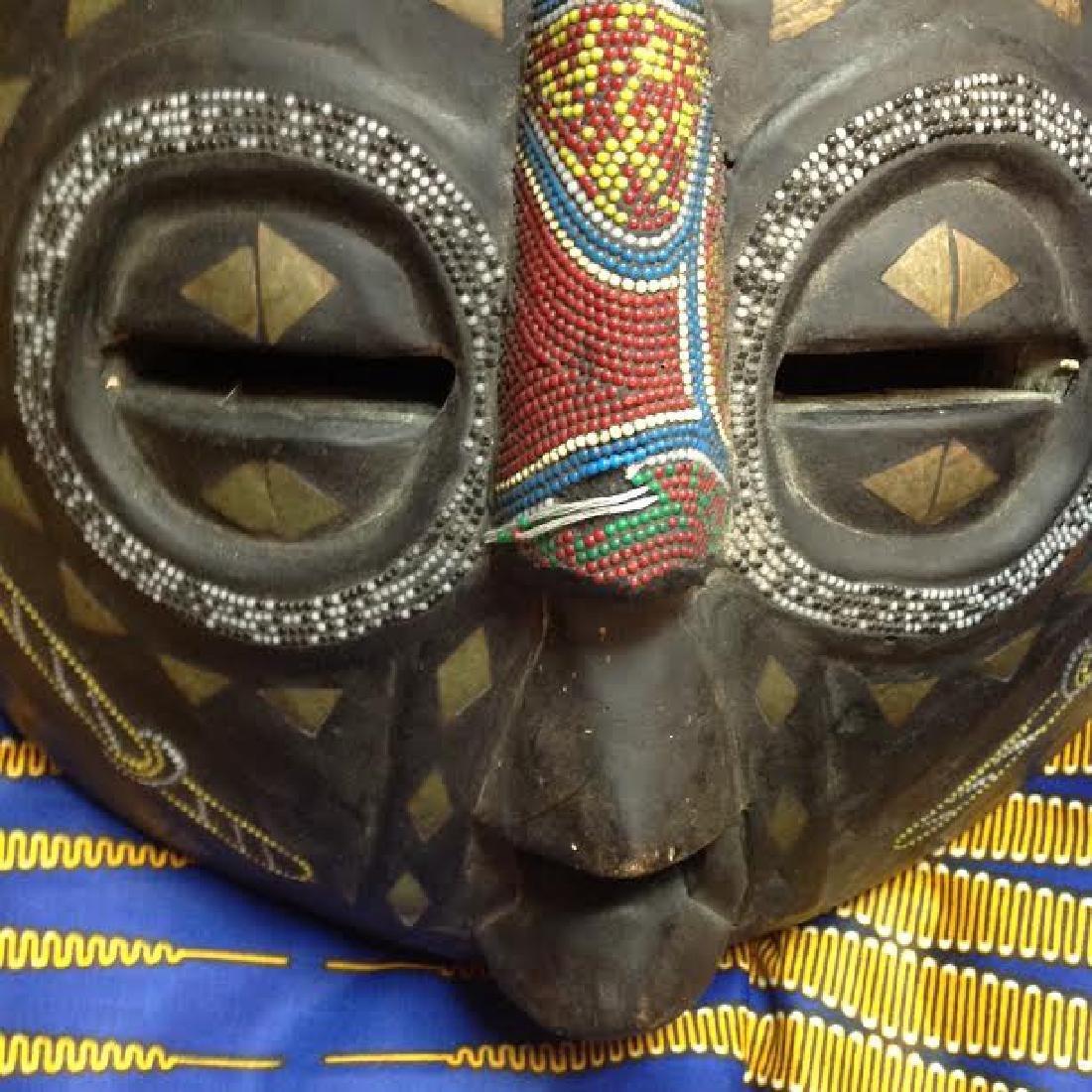 African Tribal Ceremonial Benin Beaded Mask - 3