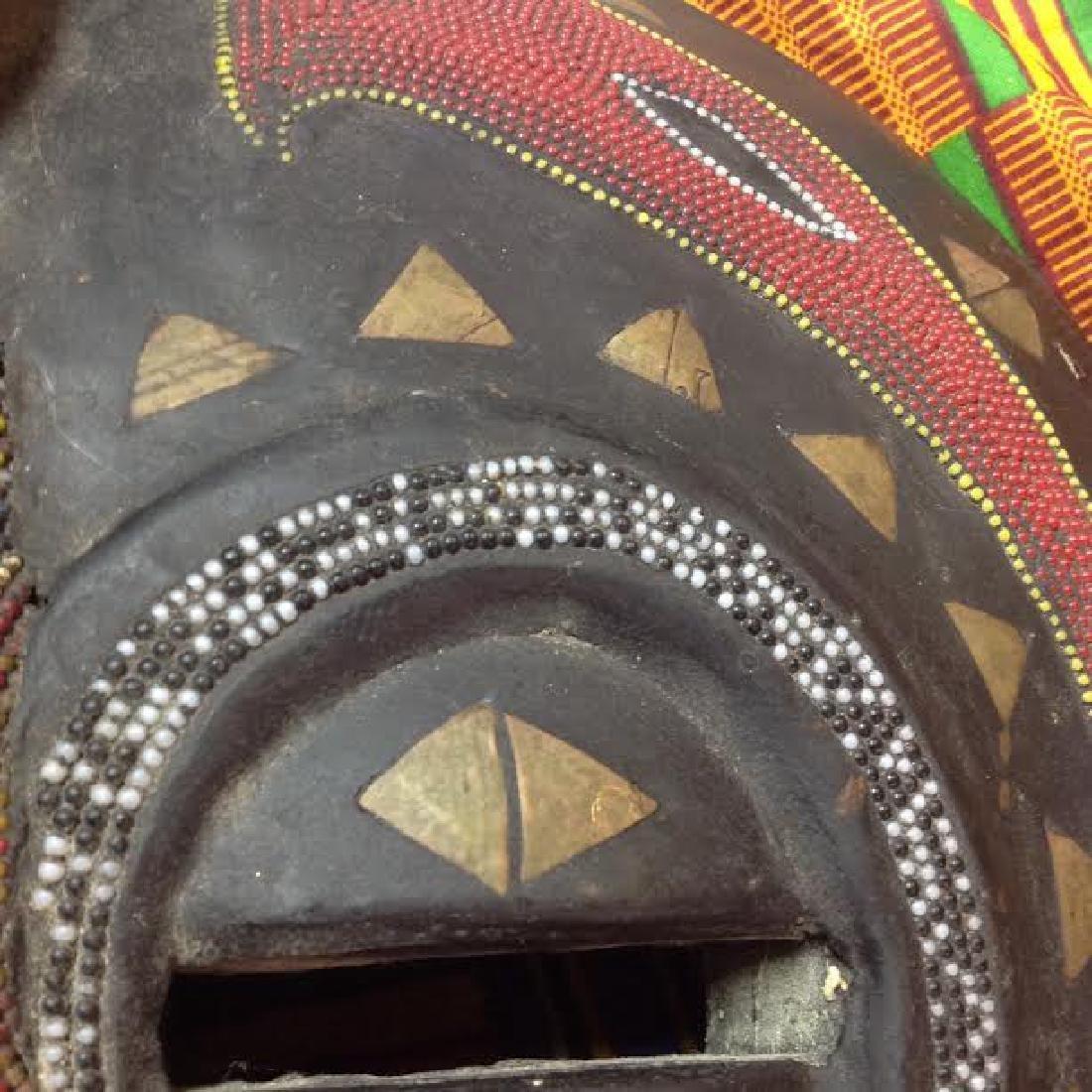 African Tribal Ceremonial Benin Beaded Mask - 6