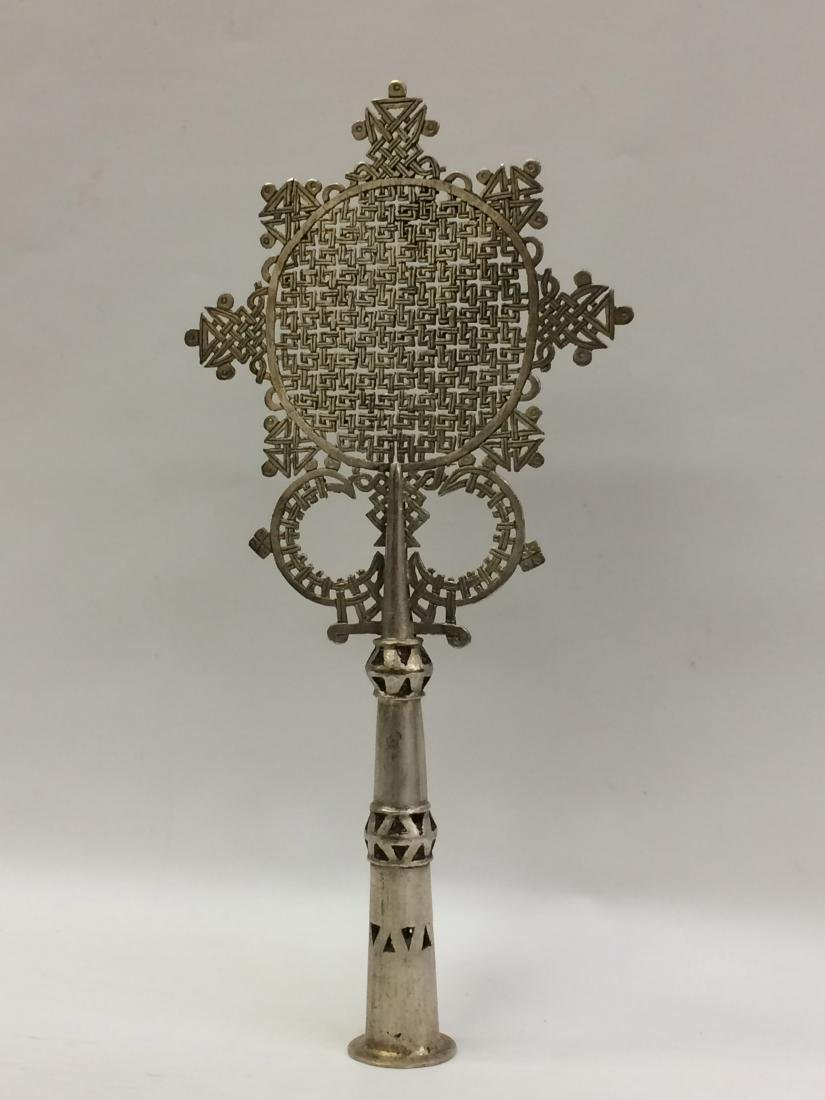 White Metal Coptic Processional Cross - 4