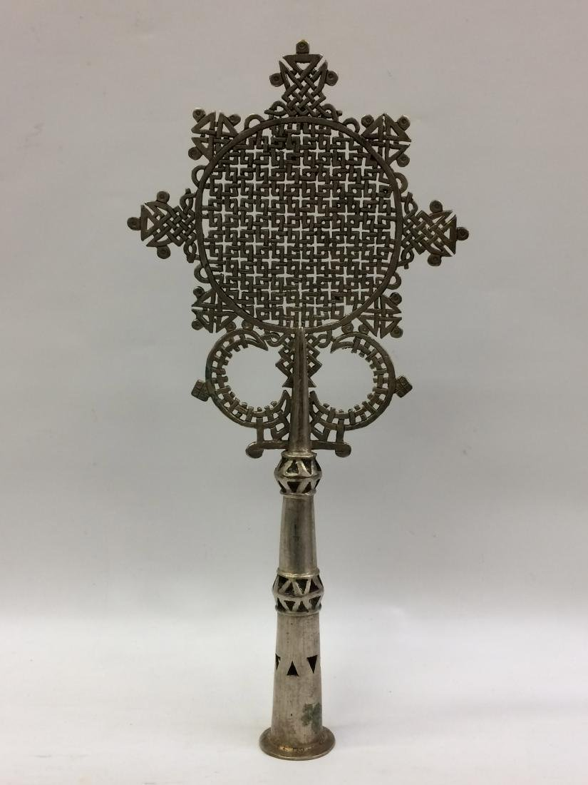 White Metal Coptic Processional Cross - 6